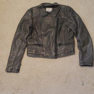 Grey Faux Leather Jacket
